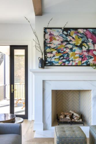 Mid-Century Farmhouse - Family Room Fireplace to Screen Porch view