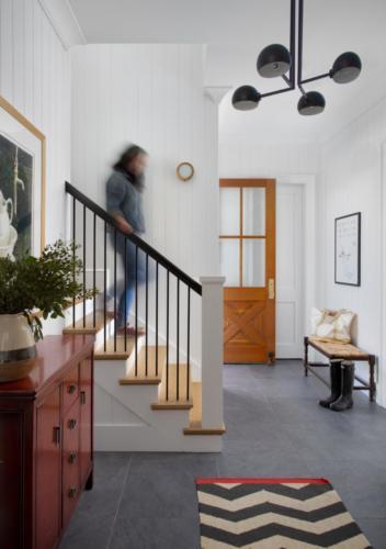 Mid-Century Farmhouse - Mudroom Staircase & Entry door