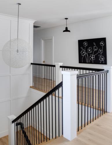 Mid-Century Farmhouse - 2nd floor stair newels & railings