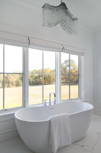 Mid-Century Farmhouse - Master bathroom tub view