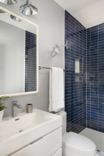 Mid-Century Farmhouse - Blue tile bathroom